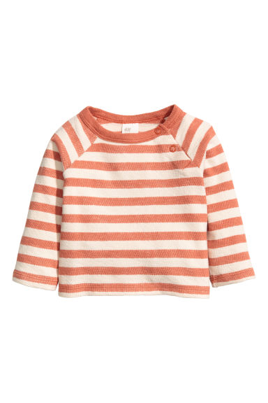 Cotton top - Dark orange/Striped - Kids | H&M 1