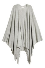 Fine-knit poncho - Light grey marl - Ladies | H&M CN 2