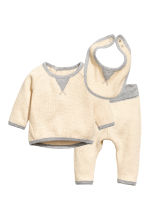 Waffled jersey set - Light beige - Kids | H&M 1