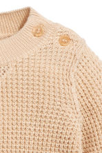 Knitted cotton jumper - Light beige -  | H&M 2