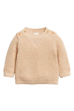 Knitted cotton jumper - Light beige - Kids | H&M 1