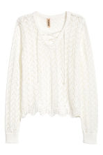 Knitted jumper with lacing - White - Ladies | H&M 2