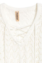 Knitted jumper with lacing - White - Ladies | H&M 3