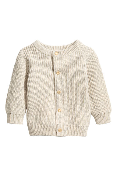 Rib-knit cotton cardigan - Light beige - Kids | H&M 1