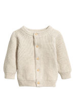 Rib-knit cotton cardigan - Light beige - Kids | H&M CN 1