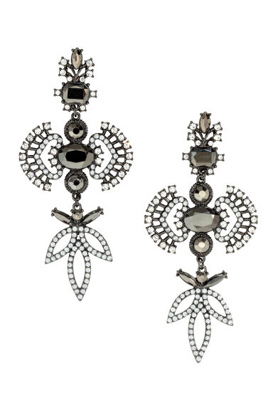 Long sparkly earrings - Dark grey - Ladies | H&M 1