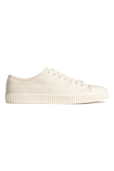 Cotton canvas trainers - Light beige - Men | H&M 1