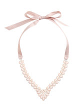 Necklace with grosgrain ribbon - Silver/Light pink - Ladies | H&M CN 1