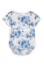 Short-sleeved printed top - Light grey/Floral - Kids | H&M CN 2