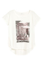 Short-sleeved printed top - White/New York -  | H&M 2