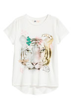 Short-sleeved jersey top - White/Tiger - Kids | H&M 2