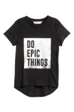 Short-sleeved jersey top - Black - Kids | H&M CN 2