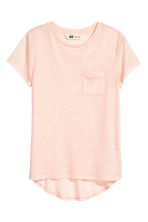 Short-sleeved jersey top - Powder pink/Glittery - Kids | H&M CN 2