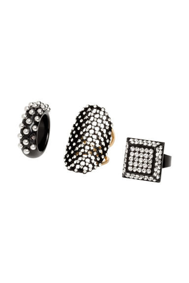 3-pack rings - Black - Ladies | H&M 1