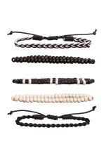 5-pack bracelets - Black/White - Men | H&M 2