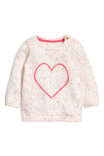 Knitted cotton jumper - White/Heart -  | H&M CN 1