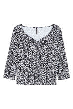 Jersey top - White/Leopard print - Ladies | H&M CN 2