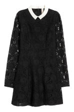 Lace dress with a collar - Black - Ladies | H&M 2