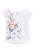 Printed jersey top - White/Butterflies -  | H&M 2