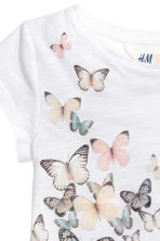 Printed jersey top - White/Butterflies -  | H&M 3