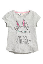 Printed jersey top - Grey/Cat -  | H&M 2