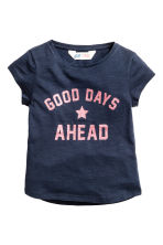 Printed jersey top - Dark blue - Kids | H&M CN 2