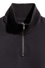 Sweatshirt with a collar - Black -  | H&M 3