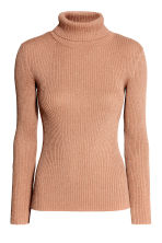 Ribbed polo-neck jumper - Beige/Glitter -  | H&M 2