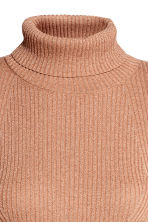 Ribbed polo-neck jumper - Beige/Glitter -  | H&M 3