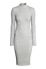Jersey turtleneck dress - Light grey marl - Ladies | H&M CN 2