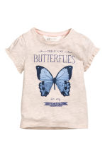 Jersey top - Light beige/Butterfly -  | H&M 2