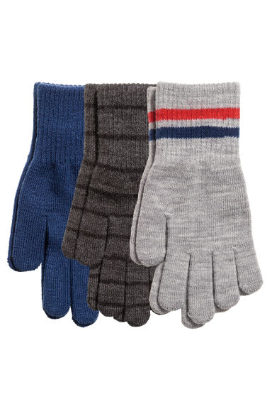 3 pairs gloves - Dark grey/Striped - Kids | H&M 1