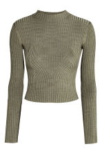 Ribbed jumper - Khaki green - Ladies | H&M 2