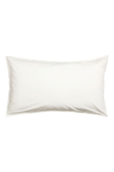 Washed cotton pillowcase - White -  | H&M CA 1