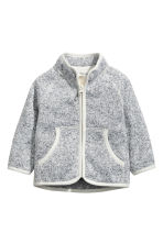 Knitted fleece jacket - Grey -  | H&M 1