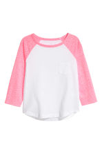 Long-sleeved jersey top - Neon pink marl -  | H&M CN 2