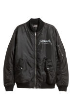 Printed bomber jacket - Black/Metallica - Men | H&M 2