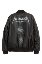 Printed bomber jacket - Black/Metallica - Men | H&M 3