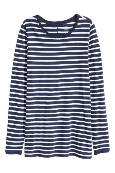 Long-sleeved top - Dark blue/Striped -  | H&M CN