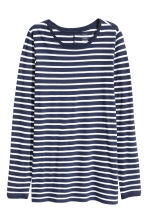 Long-sleeved top - Dark blue/Striped - Ladies | H&M 1
