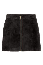 A-line skirt - Black/Imitation suede - Ladies | H&M GB 2