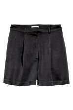 High-waisted satin shorts - Black - Ladies | H&M GB 2
