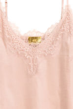 Satin strappy top with lace - Light pink - Ladies | H&M GB 3