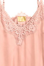 Satin strappy top with lace - Powder pink - Ladies | H&M 3