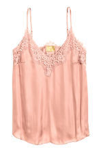 Satin strappy top with lace - Powder pink - Ladies | H&M 2