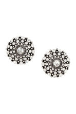 Round sparkly earrings - Silver/White - Ladies | H&M 1