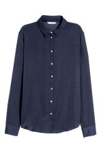 Long-sleeved blouse - Dark blue - Ladies | H&M 2