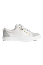 Leather and suede trainers - White/Light grey - Kids | H&M 1