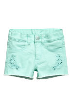 Embroidered twill shorts - Mint - Kids | H&M IE 2