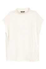 Linen jersey top - Natural white - Ladies | H&M 2
